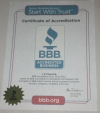 Better Business Bureau Certificate of Accreditation.