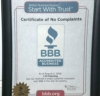 Better Business Bureau Certificate of No Complaints.